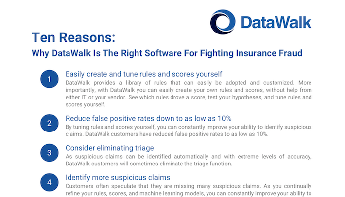 Ten Reasons: Why DataWalk Is The Right Software For Fighting Insurance Fraud