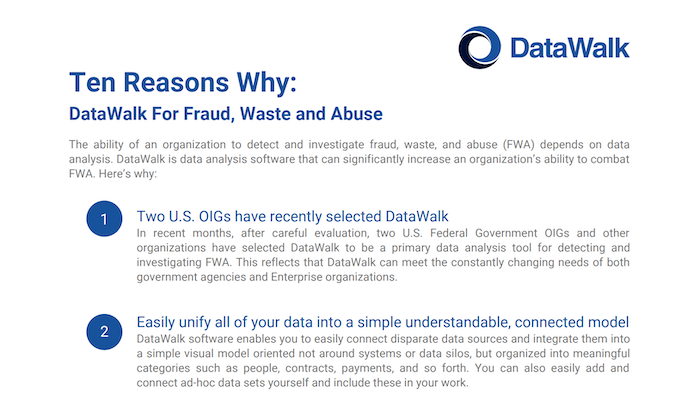 Ten Reasons Why: DataWalk For Fraud, Waste and Abuse