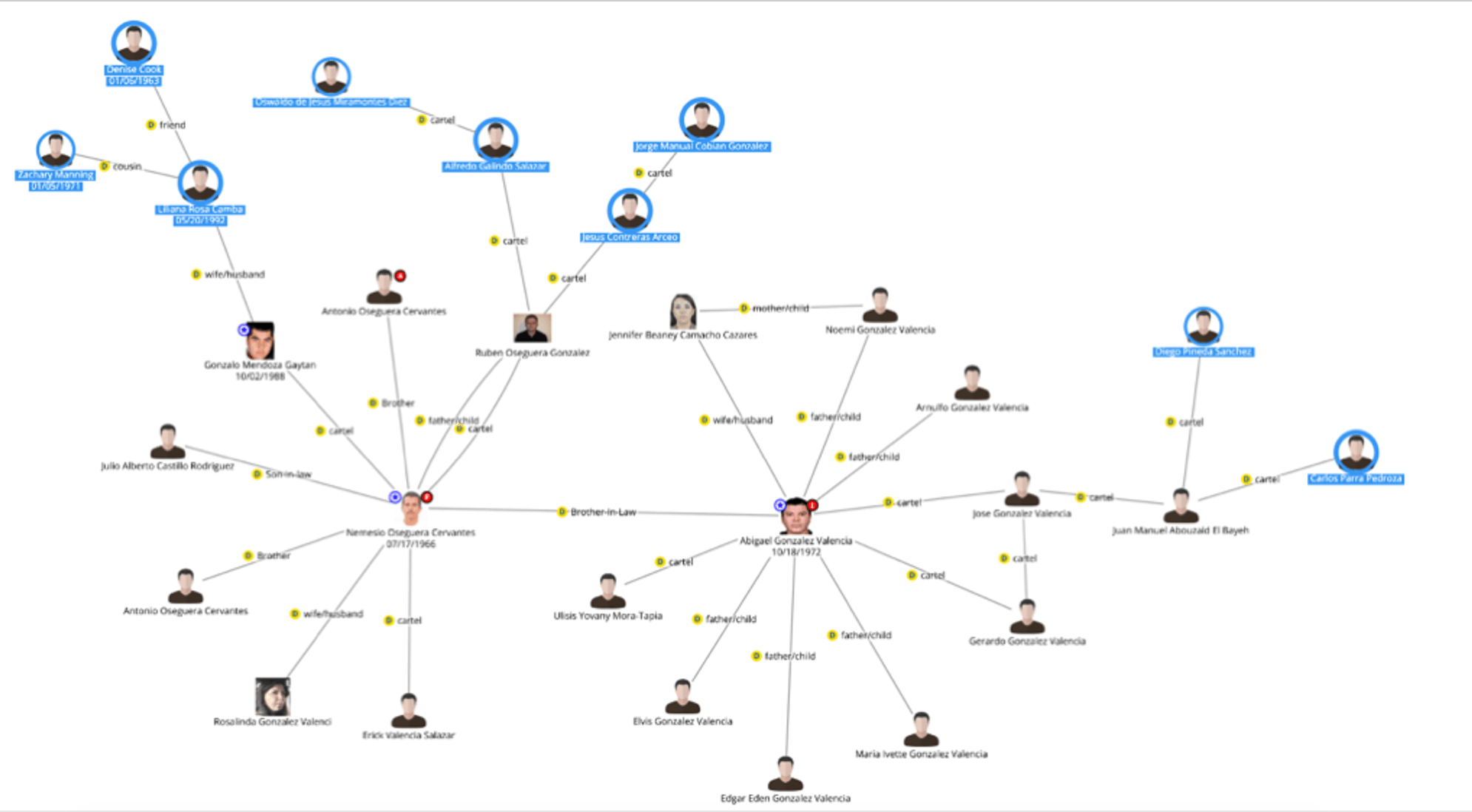 Figure 14. New entries being added to a DataWalk link analysis