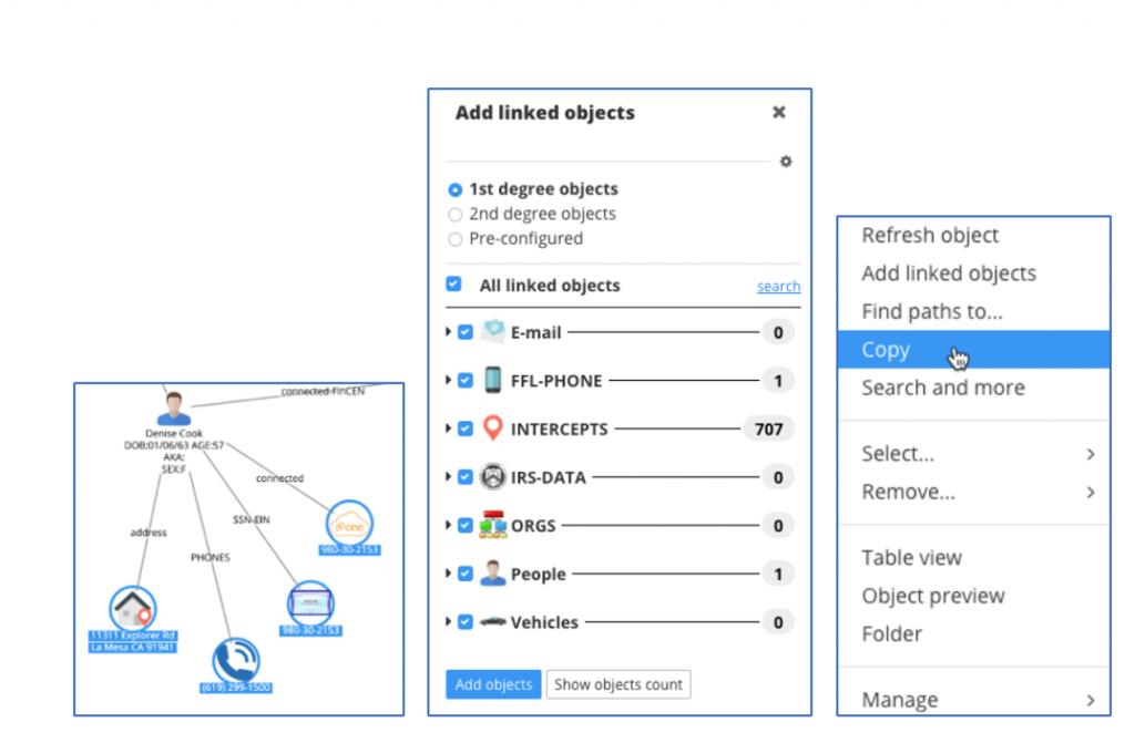 Figure 28. Identifying available phone intercepts data in DataWalk