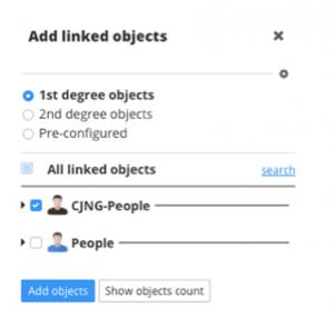 Figure 4. Adding objects to a DataWalk link chart.